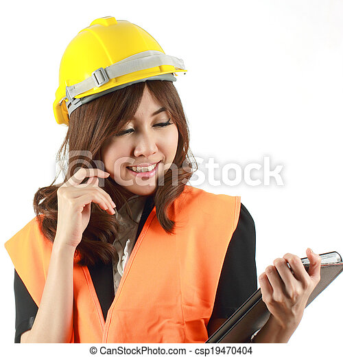 Engineer woman and Tablet in her hand - csp19470404