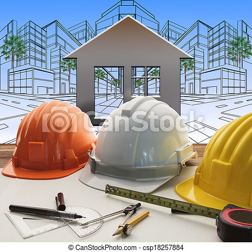 engineer working table with construction industry and engineering working tool on top of table use for real estate and property land development theme  - csp18257884