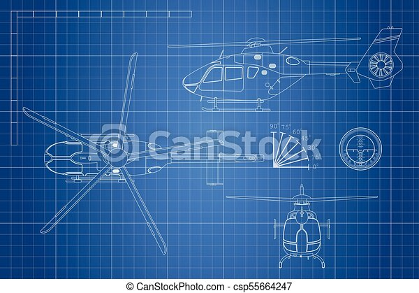 Engineering blueprint of helicopter helicopters view top eps engineering blueprint of helicopter helicopters view top side and front industrial drawing malvernweather Image collections