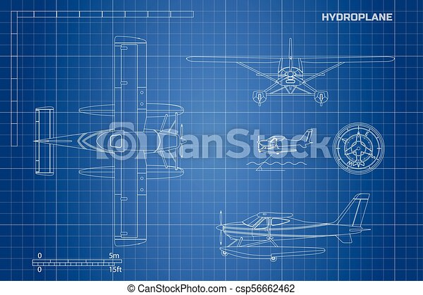 Engineering blueprint of plane hydroplane view top side and front engineering blueprint of plane hydroplane csp56662462 malvernweather Images
