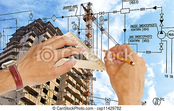 Engineering construction designing - csp11429782