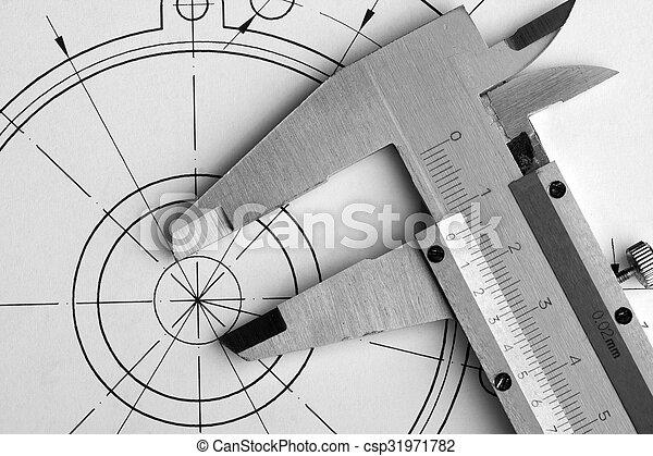 Engineering drawing and caliper - csp31971782