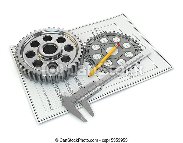 Engineering drawing. Gear, trammel, pencil and draft. - csp15353955