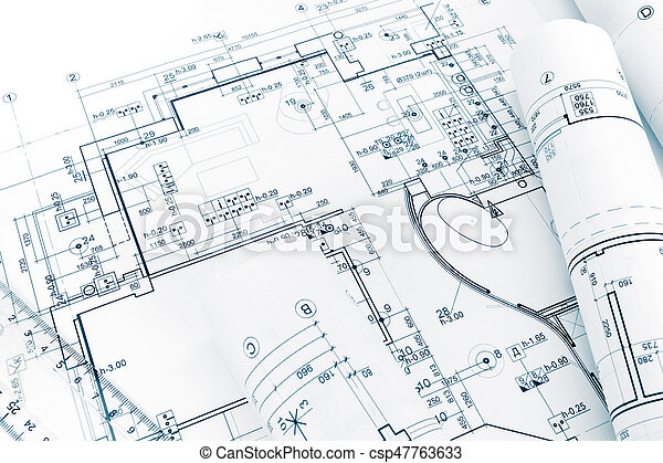 Engineering drawings blueprints and house plan blueprints stock engineering drawings blueprints and house plan blueprints rolls stock photo malvernweather Choice Image