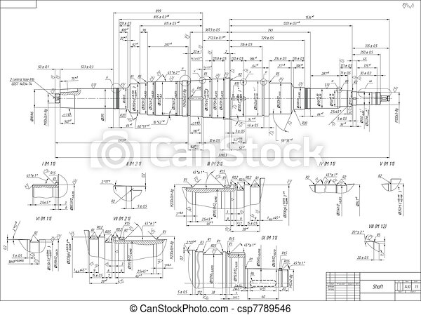 Engineering drawings of the shaft - csp7789546
