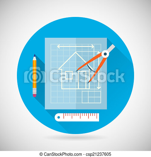 Engineering Planning Symbol Blueprint and Compass Divider Icon on Stylish Background Modern Flat Design Vector Illustration - csp21237605