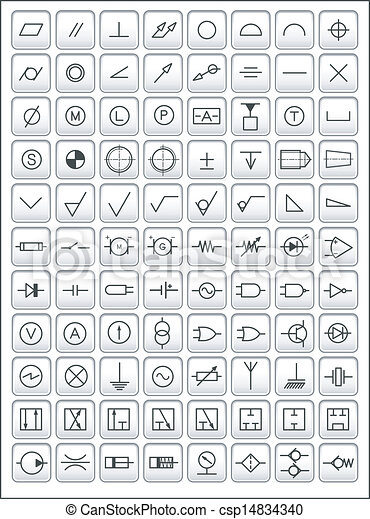 engineering symbols vector icons of most frequently used. Black Bedroom Furniture Sets. Home Design Ideas