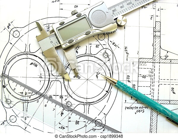 Engineering tools on technical drawing. Digital caliper, ruler and mechanical pencil. - csp1899348