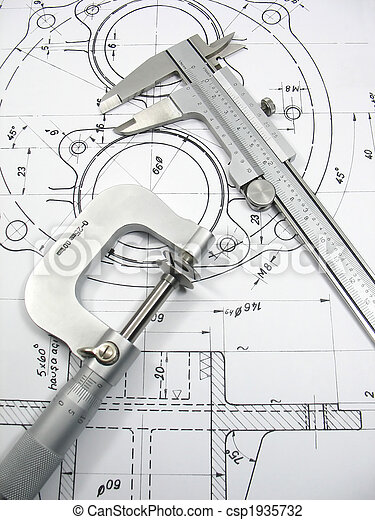 Engineering tools on technical drawing - csp1935732