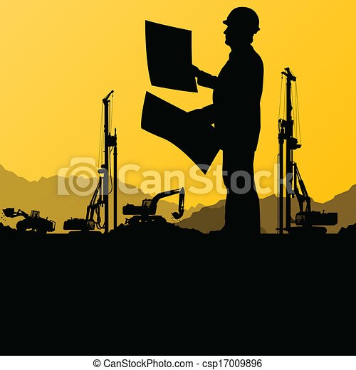 Engineers with excavator loaders and tractors digging at industrial construction site vector background illustration - csp17009896