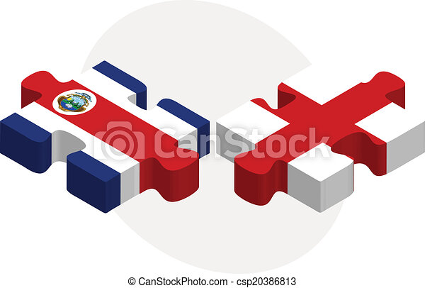 England and Costa Rica Flags in puzzle - csp20386813