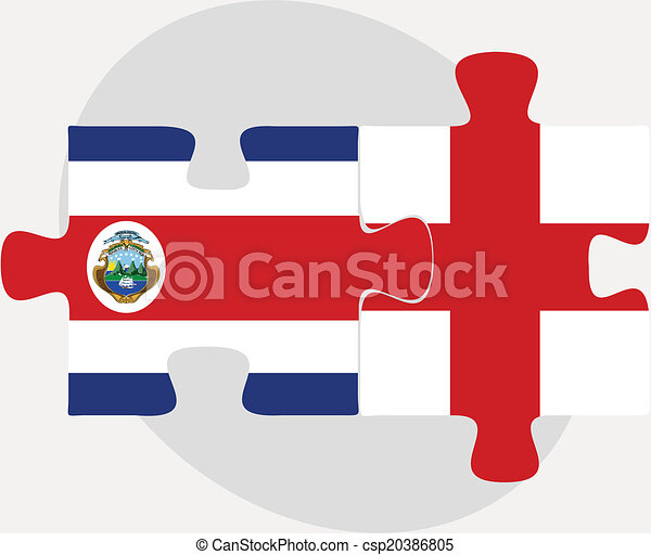 England and Costa Rica Flags in puzzle - csp20386805