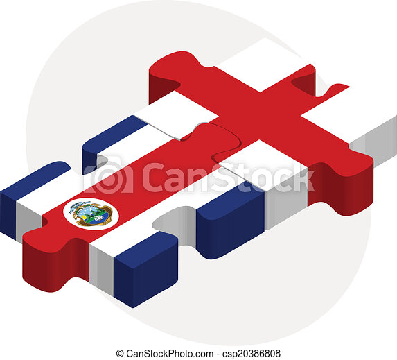 England and Costa Rica Flags in puzzle - csp20386808