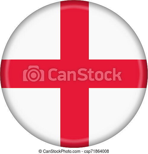 England Flag Button isolated on a white background - csp71864008