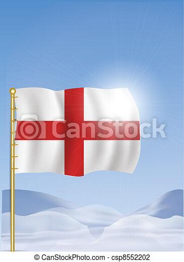 England Flag on Top of the Mountain - csp8552202