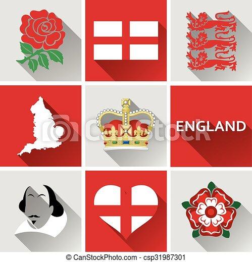 England Flat Icon Set - csp31987301