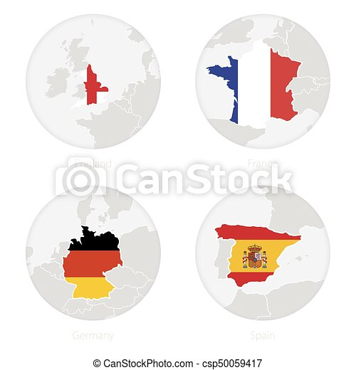 Map Of Germany To Spain.England France Germany Spain Map Contour And National Flag In A Circle