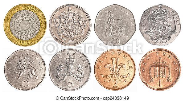 Satz England Geldmünzen Zirkulieren Freigestellt Sammlung