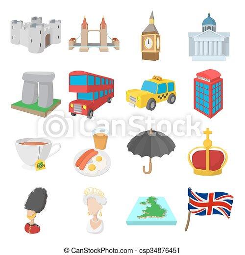 England icons set, cartoon style - csp34876451
