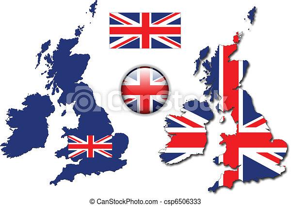 england, knapp, flagga, karta, vektor, uk - csp6506333