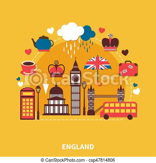 England Landmarks Design Concept - csp47814806