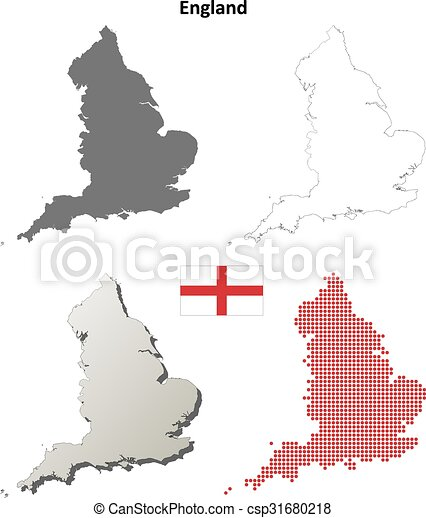 England Outline Map Set England Blank Detailed Vector Outline Map