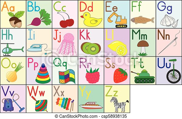 English alphabet, cards, set. Education for kids. Vector illustration. - csp58938135