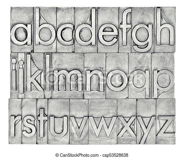 English alphabet in letterpress metal type - csp53528638