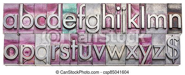 English alphabet in metal type blocks - csp85041604
