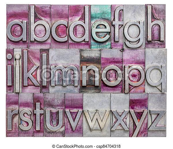 English alphabet in metal type - csp84704318
