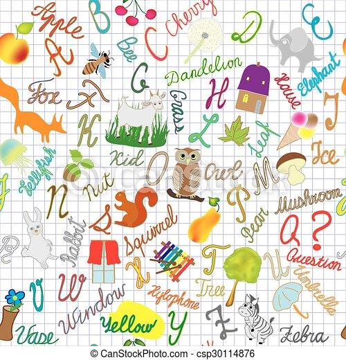English alphabet seamless compositi - csp30114876