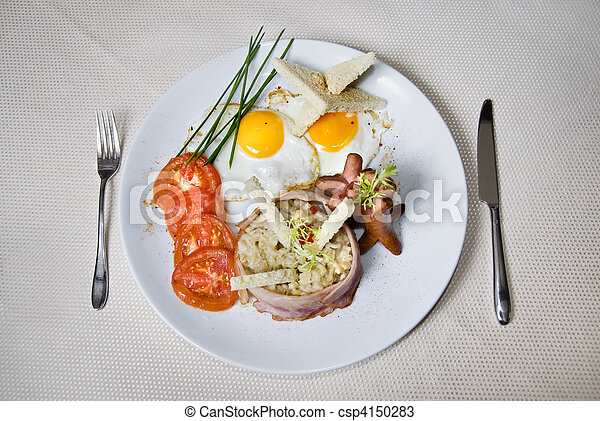English breakfast on the plate - csp4150283