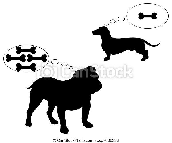 English bulldog and dachshund dream of bones - csp7008338