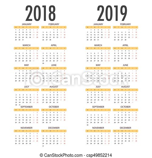 english calendar for years 2018 and 2019 week starts on monday