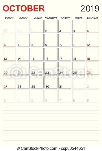 English Calendar October 2019 Monthly Planner Calendar October