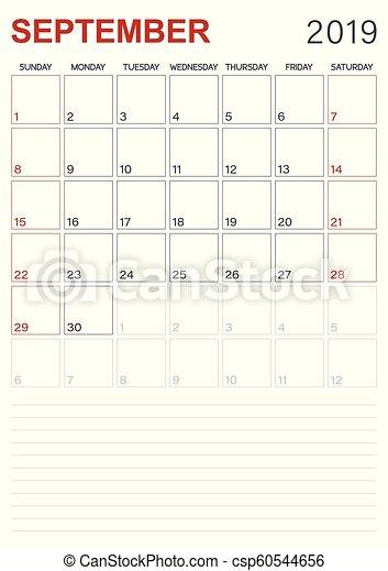 Calendar Planner September 2019.English Calendar September 2019