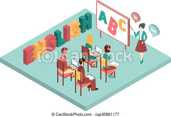 english class vector illustration engilsh class isometric rh canstockphoto com School English Class English Class Memes