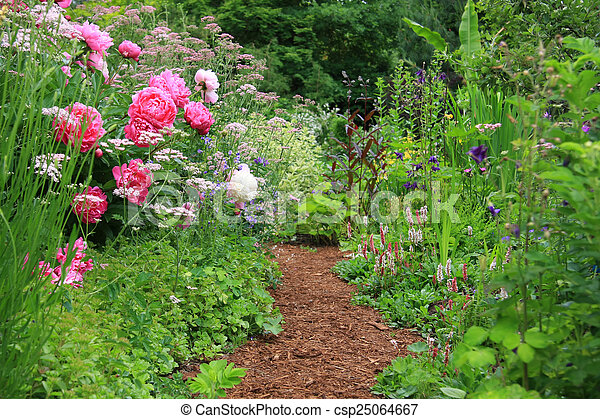 English Cottage Garden Pretty Path In An