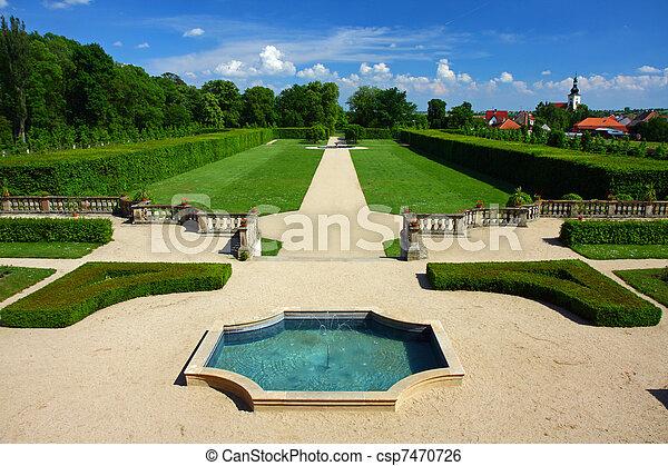 english-french, jardin fontaine - csp7470726