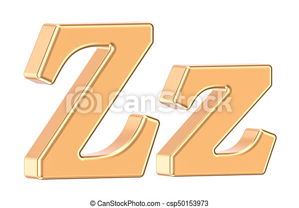 English golden letter Z with serifs, 3D rendering