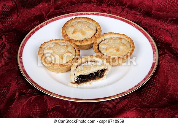 English mince pies on a plate. - csp19718959 & English mince pies on a plate. Mince pies on a white plate... stock ...