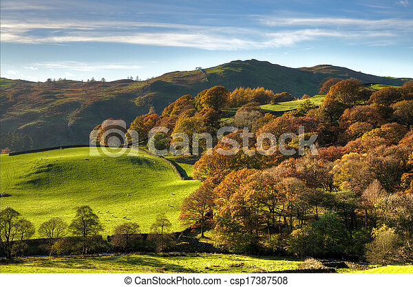 English rural scene with autumn colours - csp17387508