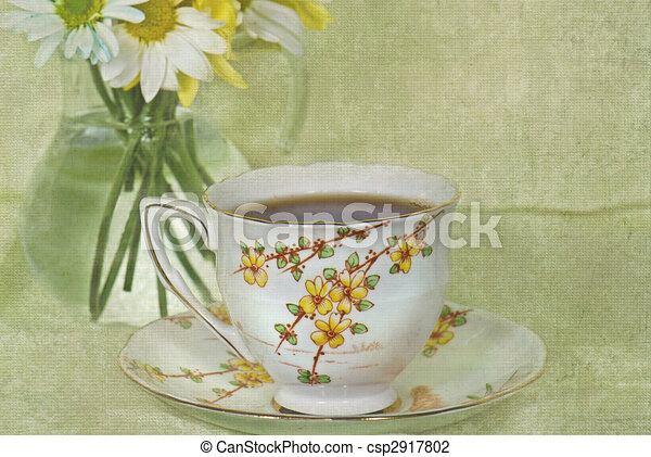 english tea time vintage tea cup with daisy bouquet in clip art search illustration. Black Bedroom Furniture Sets. Home Design Ideas