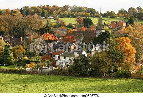 English Village with church in Autumn - csp0896776
