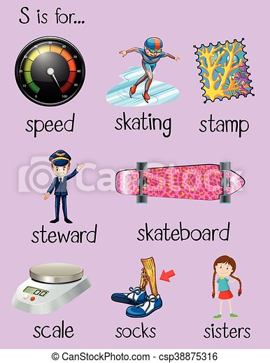 english words begin with letter s illustration.