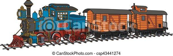 engraçado, americano, trem, vapor - csp43441274