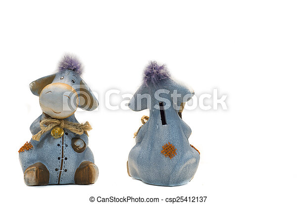 engraçado, burro, isolado, brinquedos, branca, banco - csp25412137