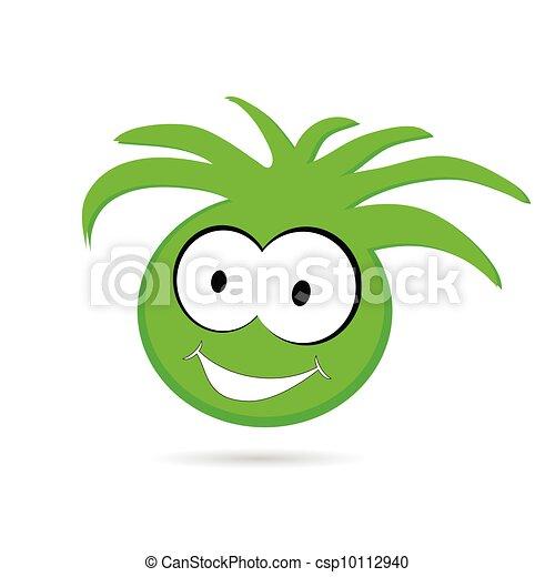 engraçado cabeça olho grande ilustração verde