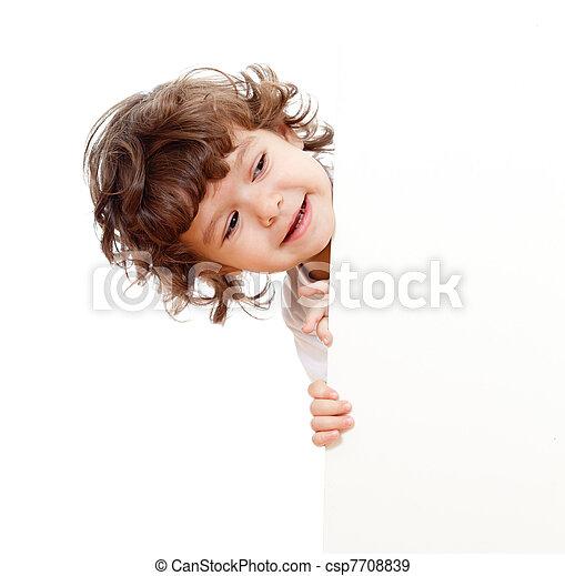 engraçado, cacheados, face branco, anunciando, prendendo criança, bandeira - csp7708839