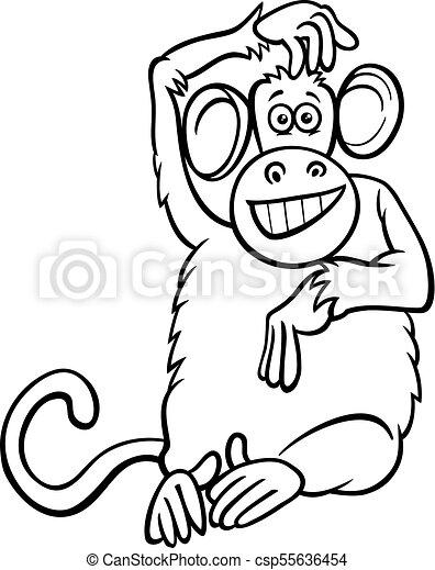 Engracado Coloracao Macaco Personagem Livro Caricatura